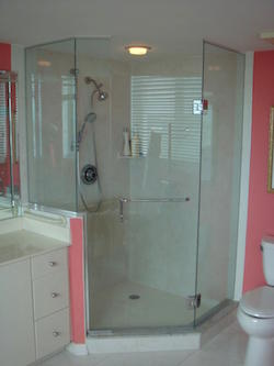 hexagonal frameless shower enclosure