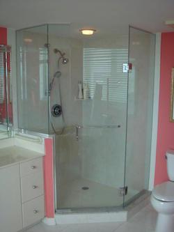 hexagonal frameless shower enclosure