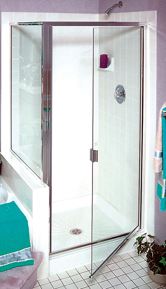 square framed shower enclosure with swinging door