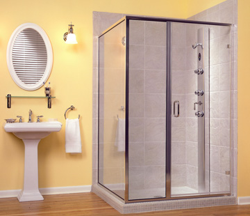framed rectangle shower enclosure with swinging door