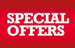 Special Offers text inside of blue,red, and white box