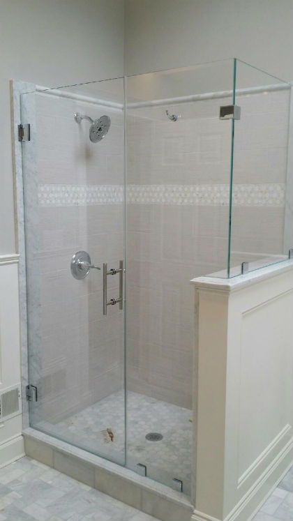 Low Iron Shower Guard Glass Enclosure in Clips