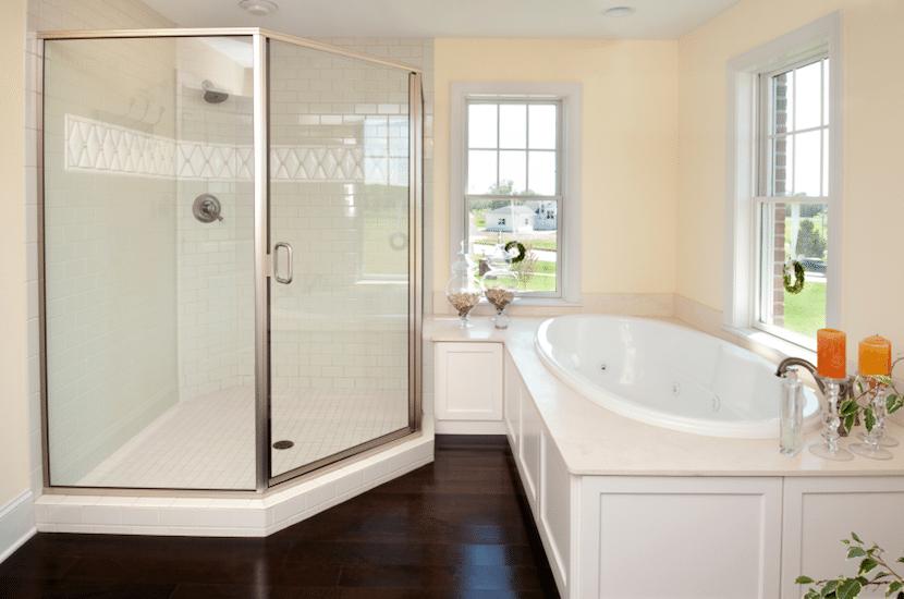 framed shower in bathroom