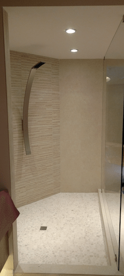 Walk-In Shower with Single Fixed Panel to Ceiling