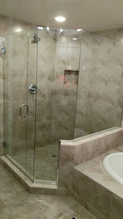 neo-angled frameless shower enclosure