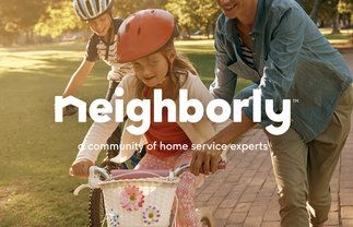 Young girl riding her bike with Neighborly: a community of experts tagline over her picture