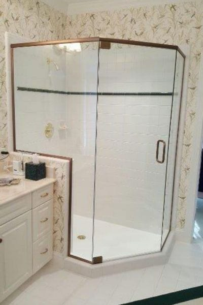 rectangle shower enclosure with waterfall decorative heavy glass swinging door