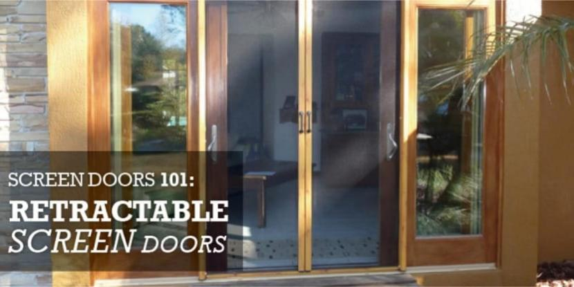 Rectractable screen doors on a house