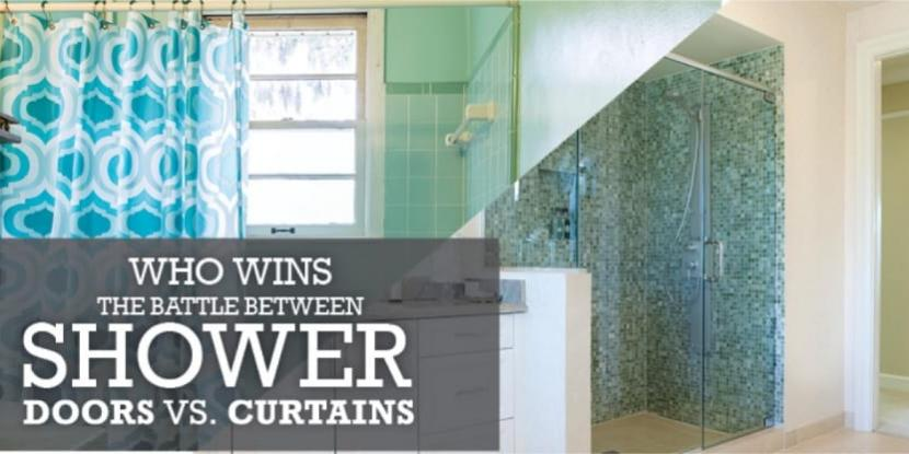 A split shot of a frameless glass shower and another shot of a tub with a shower curtain