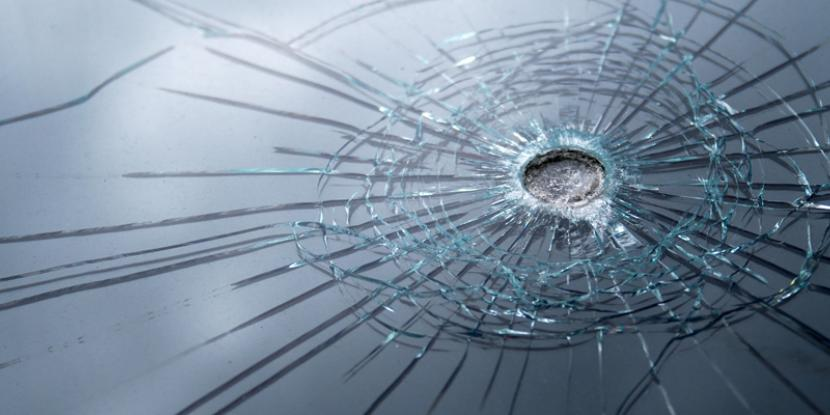 glass shattered by a bullet