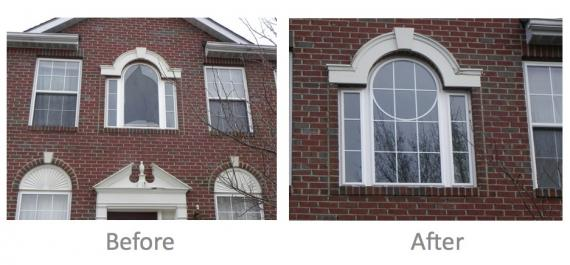 Picture of a foyer window before and after repair