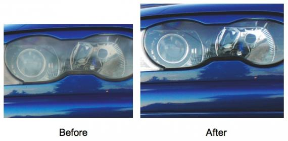 Picture of foggy headlights before and after