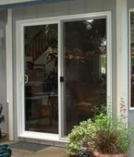 Picture of a patio door before adding a pet door
