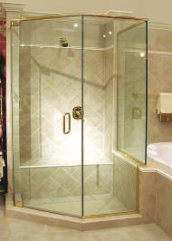 hexagonal framed shower enclosure with thick glass and swinging door