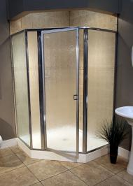hexagonal framed shower enclosure with glass rain swinging door
