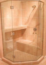 hexagonal framed shower enclosure with frameless doors