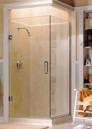 frameless shower enclosure with clear glass
