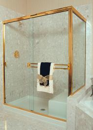 rectangle framed shower enclosure with sliding door