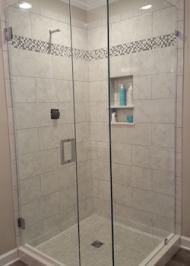 rectangle shower enclosure with heavy glass swinging doors