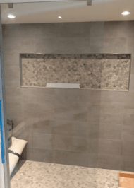 frameless shower door with clear glass