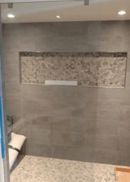 frameless shower door with clear glass