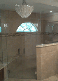 wall frameless heavy glass shower enclosure